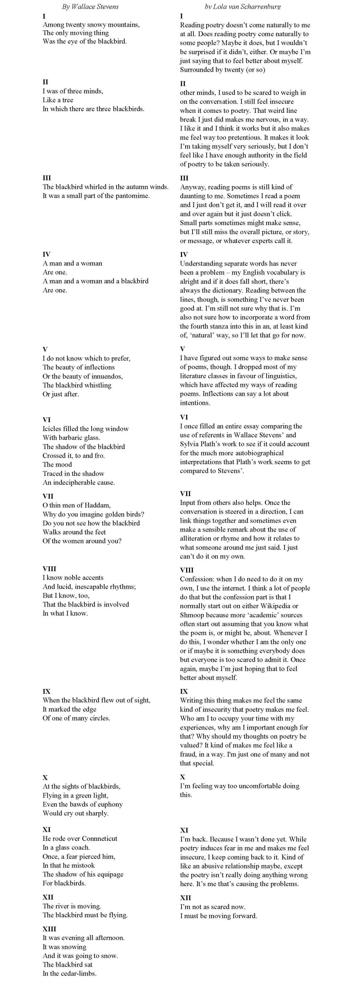 Thirteen Ways of Looking at a Poem Whole Minus Title